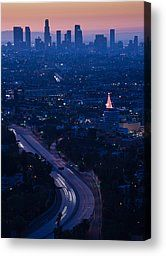 Hollywood Photographs Canvas Prints - High Angle View Of Highway 101 At Dawn Canvas Print by Panoramic Images