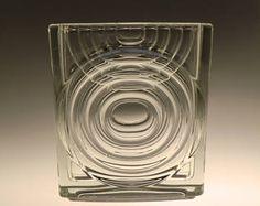 Czech Bohemian Hermanova Hut Art Glass Pressed Clear Vase by Vratislav Sotola RARE