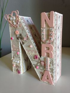 Letra N decorada Scrap