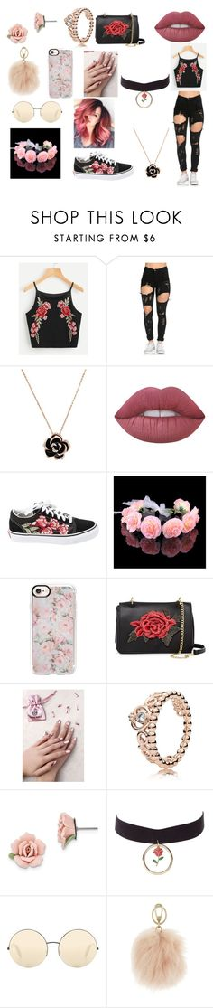 """""""Roses"""" by dream-maker-cx ❤ liked on Polyvore featuring Lime Crime, Vans, Casetify, T-shirt & Jeans, Static Nails, Pandora, 1928, Charlotte Russe, Victoria Beckham and Furla"""