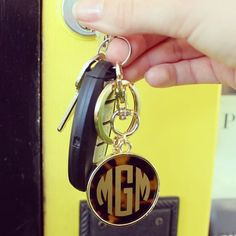 Tortoise Key Ring with Monogram - Two Friends