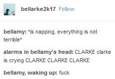Bellarke, Bellamy, Clarke, the 100, tumblr, funny
