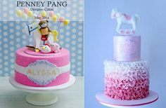 rocking horse cakes by Penney Pang Designer Cakes left and Blissfully Sweet Cakes right