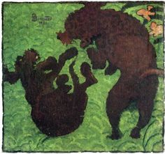 By  Pierre Bonnard, 1891, Two Poodles, oil on  canvas,Southampton City Art Gallery, Hampshire, UK.