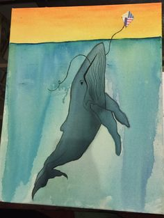 """FLY AWAY WHALE"" - 16""X20"" WRAPPED CANVAS  Great for a nursery with a nautical theme!"