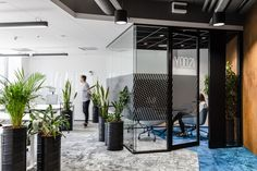 Workplace Solutions has created a flexible and comfortable office design for Nordea Seaport, an IT company located in Gdnyia, Poland. Office Interior Design, Office Interiors, Office Entrance, Office Meeting, Rustic Office, Office Plants, Workplace Design, Environmental Design, Environmental Graphics