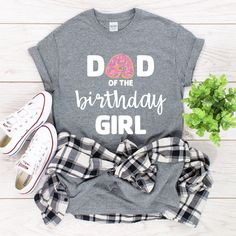 Donut Mum/ Mom/ Dad of the Birthday Girl T-Shirt Birthday Girl T Shirt, Tee Design, Mom And Dad, Colorful Shirts, Dads, Cotton, Etsy, Style, Swag