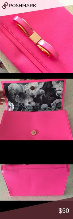 Looking for a pop of color? Ted Baker clutch!! Hot Pink Ted Baker clutch perfect for Spring and Summer! Ted Baker Bags Clutches & Wristlets