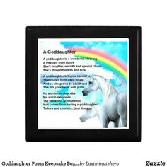 Shop Goddaughter Poem Keepsake Box - Unicorn Design created by Lastminutehero. Goddaughter Gifts, Detail Shop, Daughter Of God, Holiday Photos, Keepsake Boxes, Gift Tags, Love Her, Unicorn, Poems