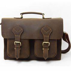 "Vintage Handmade Genuine Crazy Horse Leather Briefcase, 13"" 14"" 15"" Laptop Macbook Bag"