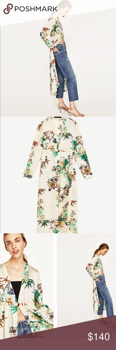 Zara Floral Long Kimono- BLOGGER'S FAVE ‼️ NWT NWT Stunning Zara Floral Kimono, Blogger's Favorite!! This is SOLD OUT everywhere!! Brand new with Tags. Size S. This piece is even more beautiful in person!! All the hottest celebs and bloggers are wearing this right now, don't miss out! Zara Tops Tunics