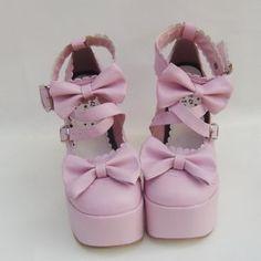 Pink Cross straps High Heels Lolita Shoes on SaleLolita.com