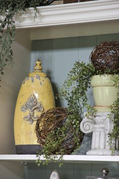 hobby lobby tuscan   re-decorated the hutch in the family room and added the yellow ...