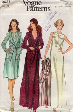 6f9546ce39 Vogue 9027 Free Us Ship Vintage Retro 1970s 70s Lingerie Nightgown Robe  Floor Length Uncut size 12 Bust 34 Sewing Pattern