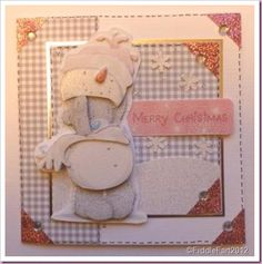 Pink and Grey tatty Teddy Card