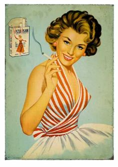 Pin up girl with cigarette Pin Up Vintage, Pub Vintage, Vintage Stuff, Retro Poster, Retro Ads, Poster Vintage, Vintage Cigarette Ads, Cigarette Girl, Vintage Advertising Posters