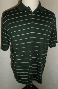 NIKE GOLF DRI-FIT SHORT SLEEVE POLO~GREEN STRIPED POLO SHIRT MENS LARGE EUC #NikeGolf #PoloRugby