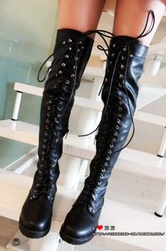 vintage black low heel lace up thigh high boots - ladies boots, soft leather