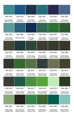 les teintes de vert nuancier ral nuanciers pinterest colores para pintar y color. Black Bedroom Furniture Sets. Home Design Ideas