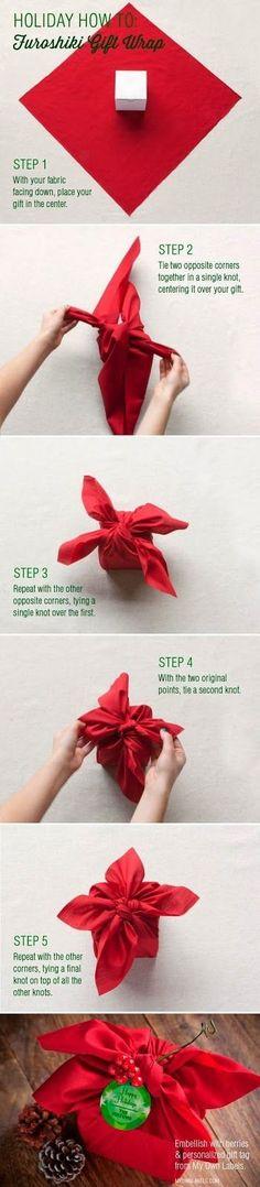 Eco friendly gift wrap with cloth. Looks pretty using this Furoshiki Gift Wrap tutorial.