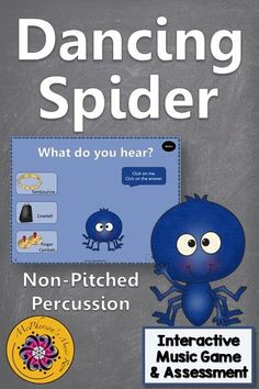 Your Kindergarten and first grade music classes are going to fall in love with this dancing spider in this student interactive game. Reviewing non-pitched percussion instruments will be a hit! Excellent Orff and Kodaly resource to add to your elementary music lesson plans. Works great with or without a Smartboard!