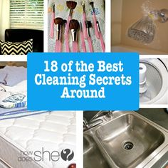 It's a constant battle…. keeping the house clean.  But there's help. We've rounded up 18 of the best cleaning secrets around to help, you're going to want to check these out!  Plus a bonus on the end to get your cleaning schedule organized!  Awesome! 1.   How to clean a shower head.  Super easy! 2. …