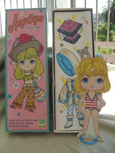 1970's Paper Dolls | Vintage Big Eyed Girl Paper Doll Set in Box Angelique