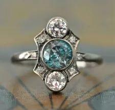 Vintage Art Deco Aquamarine Diamond 14K White Gold Finish Engagement Ring