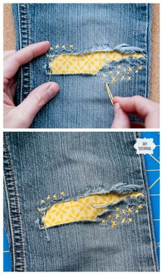 How to Mend Jean Holes in Cutest Way How to Mend Jean Holes in Cutest Way,Sewing DIY Fun DIY Jean Hole Patches in Cutest Ways – Cute Jean Holes Patch DIY Tutorial Related posts:Nähanleitung. Fabric Crafts, Sewing Crafts, Diy Crafts, Jean Diy, Visible Mending, Diy Patches, Patches For Jeans, Sewing Patches, Creation Couture