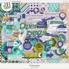 Summer is just around the corner and it's time for vacation and trip memories. Maybe you still have a prior vacation to be scrapped. So get in the mood with this new kit by JB Studio Designs called Overseas, It's jam packed with everything you need to make a layout about that awesome trip you took!  The kit includes 8 patterned papers, 5 solids, 77 elements.
