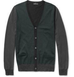 Lanvin Panelled Merino Wool Cardigan. All about color blockk.