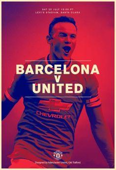 Match poster: Barcelona vs Manchester United (pre-season friendly), 25 July Designed by Barcelona Vs Manchester United, Soccer Poster, Football Posters, Sports Posters, Sports Graphic Design, Sport Design, Sports Advertising, Sports Bra Outfit, Football Design