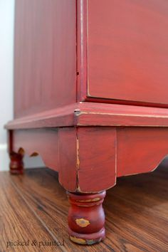 Picked & Painted: Changing Table Painted Red
