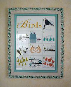 Bilderrahmen fürs Kinderzimmer, sowohl Glas (zum Verkleinern der Glasfläche) als auch Rahmen sind farblich und thematisch passend beklebt. © lottasuchtsachen.wordpress.com