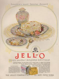 This sounds delicious. And that is surprising. Old Jello adds are often uniquely revolting. Retro Advertising, Retro Ads, Vintage Advertisements, Vintage Ads, Vintage World Maps, Retro Food, Vintage Style, Retro Recipes, Vintage Recipes