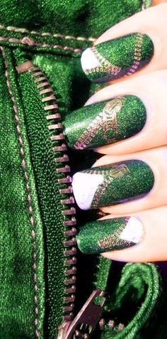 Green Ash, Neon Green, Green And Gold, Green Colors, Emerald Green, Emerald City, Love Nails, Pretty Nails, Barrette