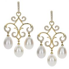 18kt yellow gold Jane earring with freshwater pearls and .60 cts diamonds. - Jewelry