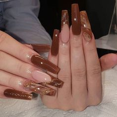 Instagram Brown Acrylic Nails, Long Square Acrylic Nails, Bling Acrylic Nails, Summer Acrylic Nails, Best Acrylic Nails, Brown Nails, Acylic Nails, Cute Acrylic Nail Designs, Dope Nail Designs
