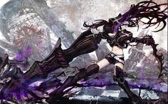 Women Black Rock Shooter Purple Insane Evil