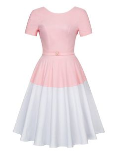 You're A Winner Vintage Style Colour Block Swing Retro 1950s Dress