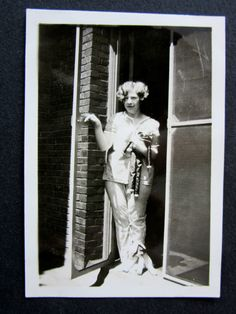 1920s Woman in Pajamas with Boudoir Doll