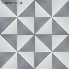 Cement Tile Shop - Handmade Cement Tile | Diagonal Grey and White