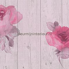 Aquarel rozen op hout behang 9611-22, New England 2 van AS Creation