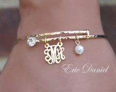 Personalized Monogram Bangle Hammered Gold Finish, Alex and Ani Inspired, Choose Your Initials, Gold Bangle, Initials Bangle, Alex Ani