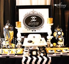 Coco Chanel birthday party dessert table! See more party ideas at CatchMyParty.com!