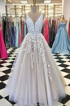 V Neck Tulle Lace Long Wedding Dress,Tulle Ball Gown Prom Dress With Appliques, This dress could be custom made, there are no extra cost to do custom size and color