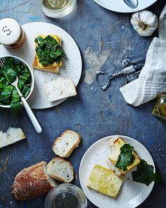 Open-faced Tofu & Garlicky Greens