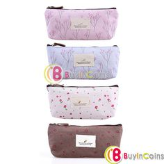 Countryside Rural Style Floral Pencil Pen Case Cosmetic Makeup Zipper Bag Pouch -- BuyinCoins.com