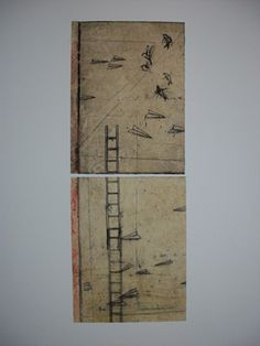 """Mark Ritchie  Epiphany: Messages En Route  2012  intaglio with hand color on waxed paper  image 4""""x10""""/ 11"""" x 15"""" paper size"""