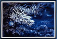 White Dragon Cross Stitch Pattern - Glowing pearly white in the light of the crescent moon, this Chinese dragon is a fantastical visitor from bygone days. From his ice-blue eyes to his razor sharp claws, he is every inch the King of the Skies. Based on artwork by Kayomi Harai. This design measures 300 stitches wide by 201 stitches high. This is a pattern for counted cross stitch. It is not a complete kit. You must provide your own fabric and floss. #Cross-stitchPatterns #HereBeDragons…